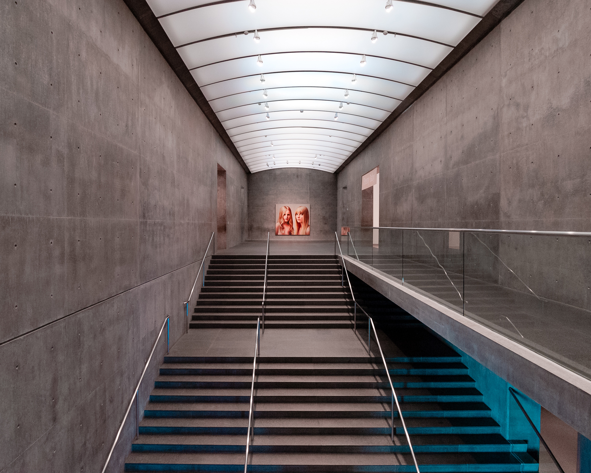Main staircase to special exhibition hall at the Modern Art Museum of Fort Worth.